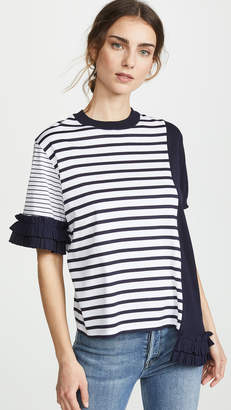 Clu Mixed Media Striped Top