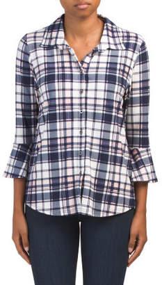 Bell Sleeve Knit Plaid Shirt
