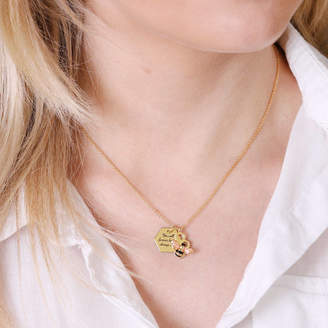 Bumble Bee Lisa Angel Personalised Honeycomb Bumblebee Necklace