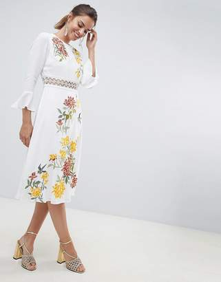 de60e1d2 Asos Design DESIGN premium embroidered midi dress with lace inserts and  floral embroidery