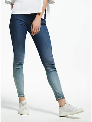 7 For All Mankind Mid Waist Skinny Crop Slim Illusion Jeans, Faded Blue