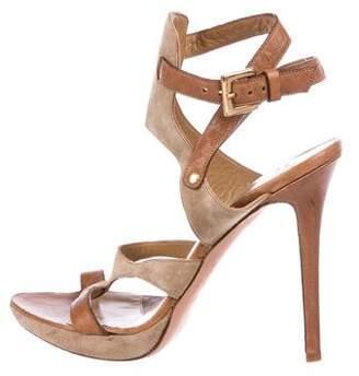 Herve Leger Leather Ankle-Strap Sandals