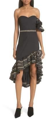 Caroline Constas Cam Embroidered Asymmetrical Ruffle Dress
