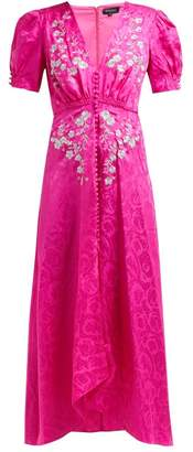 Saloni Lea Floral Embroidered Silk Dress - Womens - Pink Silver