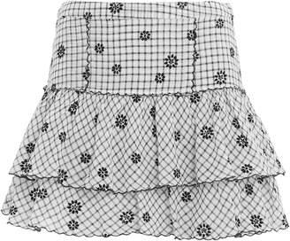 LoveShackFancy Amy Gingham Embroidered Mini Skirt