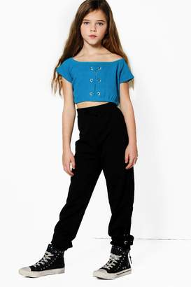 boohoo Girls Eyelet Crop Top & Jogger Set