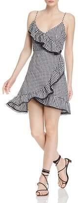 BB Dakota Ruffled Gingham Faux-Wrap Dress