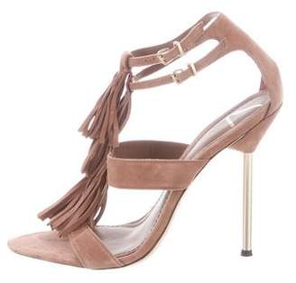 Brian Atwood Suede Fringe Sandals