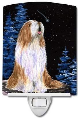 Caroline's Treasures Starry Night Bearded Collie Ceramic Night Light