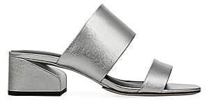 Via Spiga Women's Phillipa Metalic-Leather Block Heel Slides Sandals