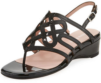 Taryn Rose Kelvo Patent Wedge Sandal $155 thestylecure.com