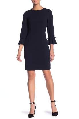 Tahari 3\u002F4 Pleated Sleeve Sheath Dress