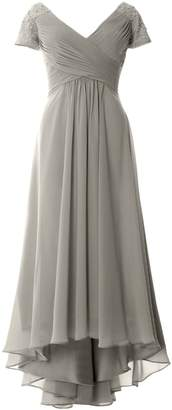 MACloth Cap Sleeves V Neck High Low Mother of Bride Dress Evening Formal Gown
