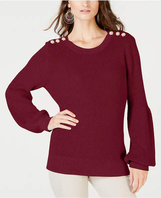 INC International Concepts I.n.c. Button-Shoulder Puff-Sleeve Sweater