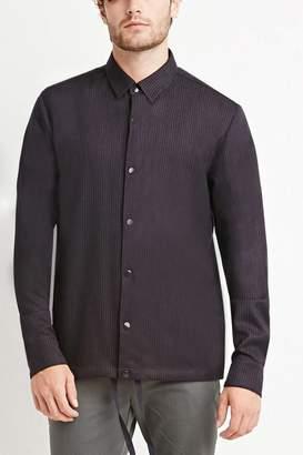 Forever 21 Collared Pinstripe Drawstring Shirt