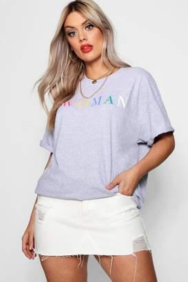 boohoo Plus Woman Rainbow Slogan T-Shirt