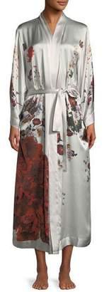 Meng Rose Peacock Long Kimono Robe