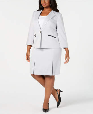Le Suit Plus Size Single-Button Zip Skirt Suit
