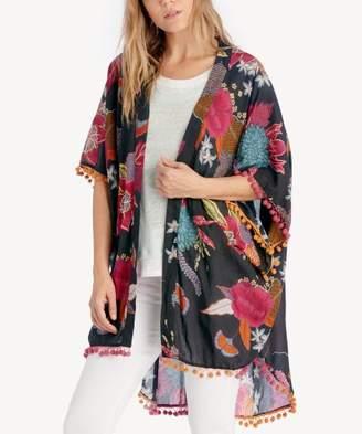 Sole Society Floral Kimono w/ Pom Detail