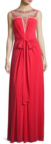 BCBGMAXAZRIABCBGMAXAZRIA Embroidered Illusion-Neck Gown, Red