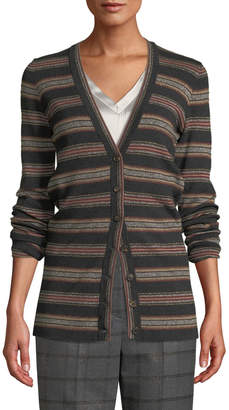 Brunello Cucinelli Metallic Striped Wool-Cashmere Cardigan