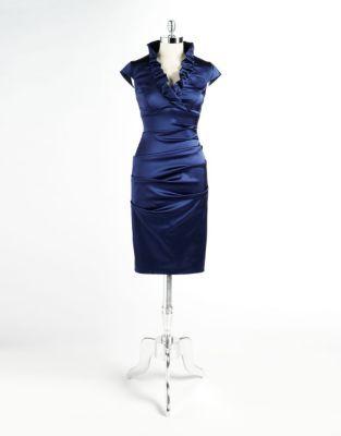 Xscape Evenings Satin Cap Sleeve Dress