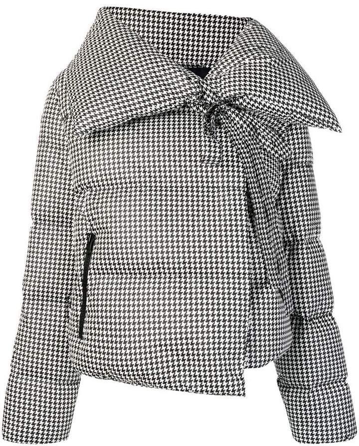 pied-de-poule puffer jacket