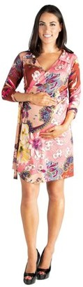24/7 Comfort Apparel Rose Collared V-Neck 3/4 Sleeve Maternity Wrap Dress
