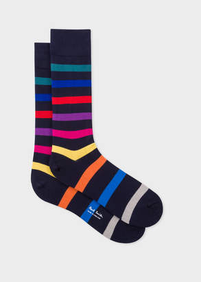Paul Smith Men's Navy Multi-Coloured Stripe Socks