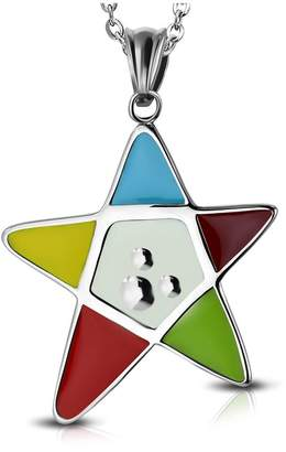 NRG 316L Jewelry Stainless Steel Colorful Enameled Pentagram Star Charm Pendant