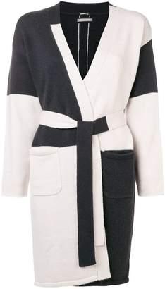 Hemisphere colour block belted cardigan