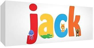 Camilla And Marc Feel Good Art Gallery Wrapped Nursery Box Canvas with Solid Front Panel Rectangle Design Cute Illustrations and Personalised with Boy's Name (15 x 42 x 4 cm, Small, Jack)