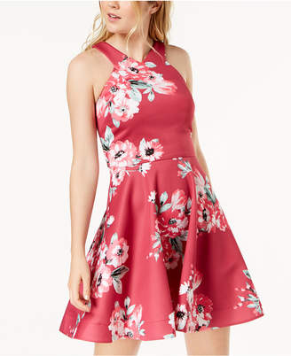 My Michelle Juniors' Floral-Print Fit & Flare Dress
