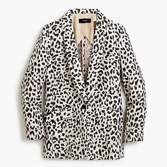 J.Crew Linen blazer in leopard print