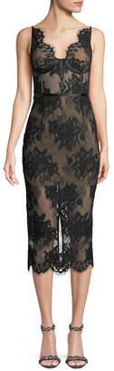 Misha Finley Sheer Floral Lace Dress