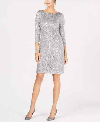 Jessica Howard Sequined Ruched Sheath Dress