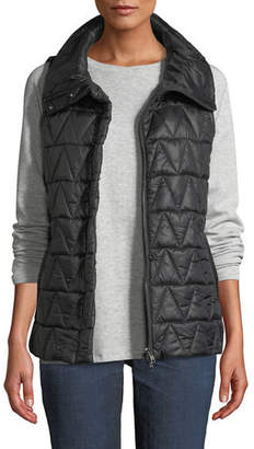 Eileen Fisher Chevron Quilted Snap-Front Vest