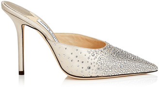 Jimmy Choo RAV 100 Ballet Pink Sprinkled Crystals on Satin Mule Pump