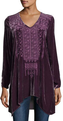 Johnny Was Sassi Long-Sleeve Velvet Tunic, Petite
