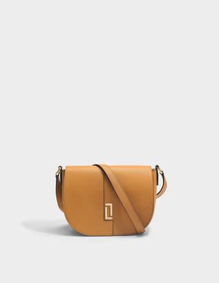 Lancel Lola S Flap Saddle Bag in Camel Grained Leather