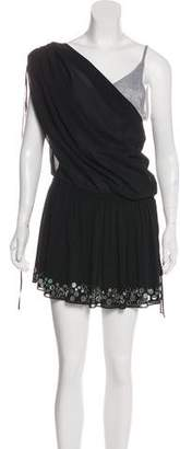 Robert Rodriguez Embellished One-Shoulder Mini Dress