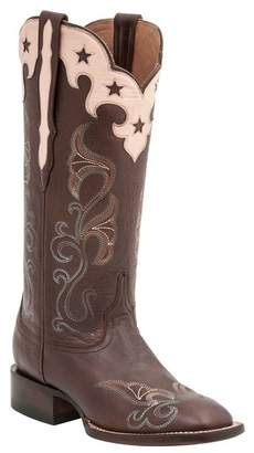 Lucchese Scallop Top Star Cowboy Leather Boot - Wide Width Available