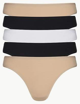 Marks and Spencer 5 Pack No VPL Microfibre Low Rise Thongs
