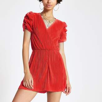 River Island Womens Red puff sleeve plisse playsuit