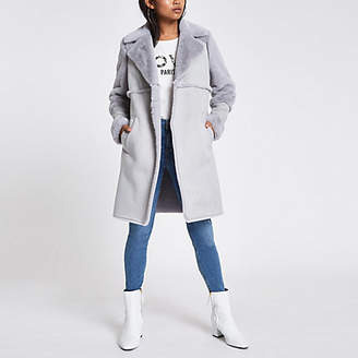 River Island Petite grey suede faux fur trim longline coat