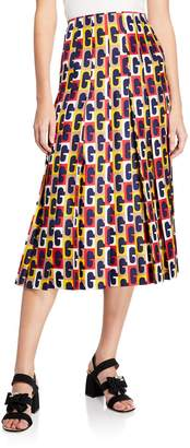 Gucci G-Sequence Pleated Silk Mid-Length Skirt