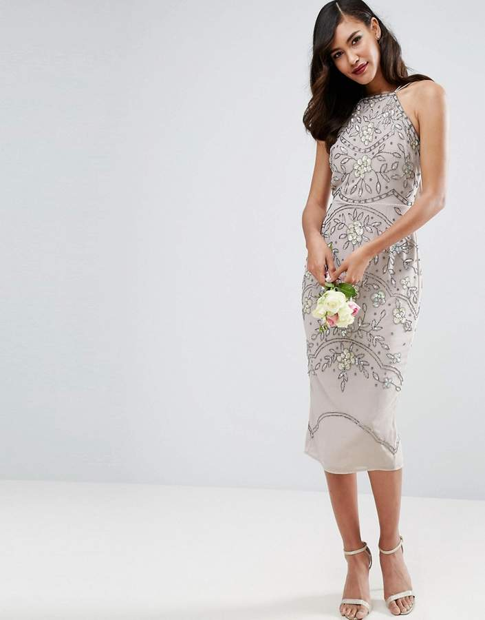 Asos ASOS WEDDING Embellished Floral Drape Back Pencil Midi Dress
