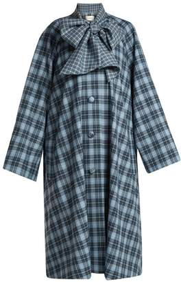 Rodarte - Tie Neck Tartan Coat - Womens - Blue Print