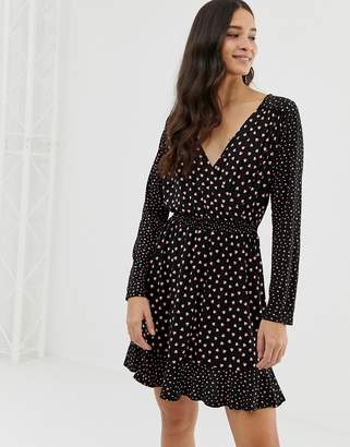 Oasis wrap dress with sheered waist in heart print
