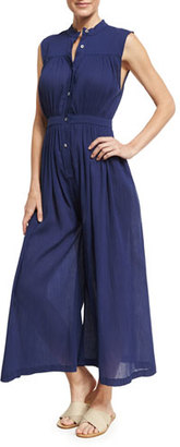 Mara Hoffman Gathered Wide-Leg Organic Cotton Coverup Jumpsuit, Blue $225 thestylecure.com
